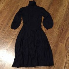 Lower price!! Sweater dress Like new dress! Black turtle neck sweater dress with pretty embroidered details on top/waist. Belt at waist to accentuate great condition!! Max & Cleo Dresses