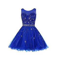 Royal Blue Beading Charming A-Line Short Prom Dresses,Tulle Homecoming Dress Homecoming Dresses