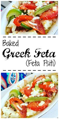 Greek Feta Psiti is easy to prepare and is a perfect appetizer or meze. You don't even have to stir it - just pile on a few simple ingredients!