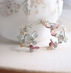 XANADU  ice flower gemstone aquamarine silver wire by shadowjewels, $98.00