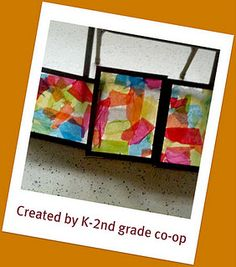 Homemade stained glass window created by K-2nd grade homeschool co-op!