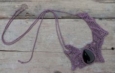 This Freeform statement necklace was handmade crochet by me with Lilac thread and Black Onyx gemstone. <3 by AmorArt