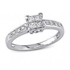 10k White Gold I2-I3 Round and Princess Diamonds Engagement Ring, 1/4 ctw