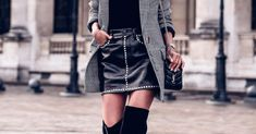We tell you how to wear over the knee boots no matter your body type, plus 30 super cute outfit ideas that make this trend look so effortless-chic. Spring Work Outfits, Fall Outfits, Cute Outfits, Boot Outfits, Weekly Outfits, Cool Street Fashion, Look Fashion, Autumn Fashion, Velvet Thigh High Boots
