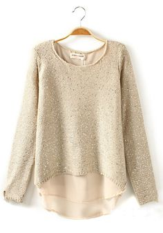 Beige Plain Sequin Long Sleeve Wool Blend Sweater