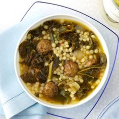 Couscous Meatball Soup Recipe--AKA Italian Wedding Soup.  Even Don loves this one!!~~~~~Rose