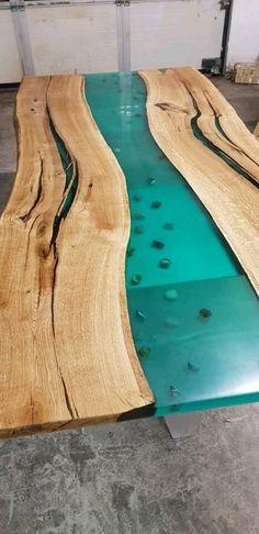 Eiche Epoxidharz Tisch River Edelstahl BAUMTISCH ESSTISCH MASSIV in Hessen - Maintal Hessen, Oak Tree, Stainless Steel, Timber Wood, Ideas