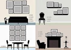 Room Vignettes with Gallery wall layouts (I like the dining room/section idea but with mirrors)