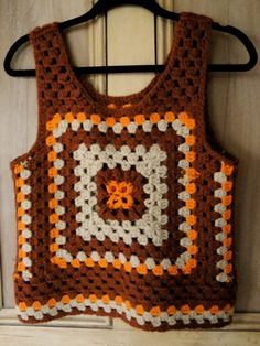 Vintage marrón naranja abuela cuadrados ganchillo por dalatlanta