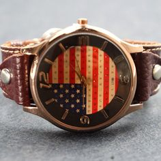 -American flag leather watch