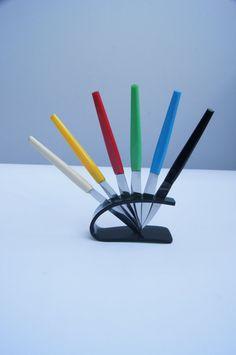 Vintage set knife  modern style  colorful knife  by MyDejaVu