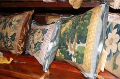 Antique French Aubusson pillows from new collection of E Alexander Designs French Interior Design, French Colors, French Style Homes, Textiles, French Home Decor, Country Style, French Antiques, Belgium, Decorative Pillows
