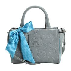Loungefly Disney Alice Through The Looking Glass Grey Embossed Barrel... (250 HKD) ❤ liked on Polyvore featuring bags, handbags, glass handbag, grey purse, bow bag, cat bag and hand bags