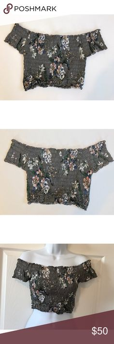 """Cleobella floral off the shoulder crop top Cute, grey, scrunchy crop top with flowers and branches. Off the shoulder, a perfect top to pair with a maxi skirt, and must have for spring and summer!!In perfect condition, practically brand new. 100%rayonno trades, offers considered  Shoulders: 17"""" Sleeve: 4"""" Cuff: 4"""" Hem: 11"""" Chest: ~13"""" Cleobella Tops Crop Tops"""