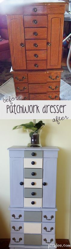 Shabby Chic Patchwork Dresser Before & After!  Using #Annie #Sloan Chalk Paint