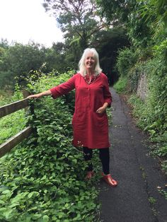 My first Merchant & Mills Union Dress in a warmer weight linen - lovely shade of rich red from Stone Fabrics in Totnes, Devon