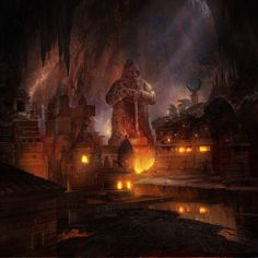 I'm building a huge abandoned dwarven city/mega dungeon. Anyone have any advice or cool ideas? Fantasy City, Fantasy Kunst, Fantasy Places, Fantasy Map, Fantasy World, Fantasy Artwork, Fantasy Concept Art, Dwarven City, Fantasy Dwarf