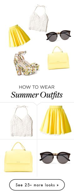 """Yellow summer outfit "" by kyliegalbraith on Polyvore featuring Philipp Plein, Hollister Co., Illesteva and Orciani"