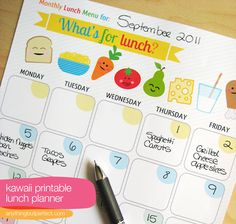 lunch planner printables
