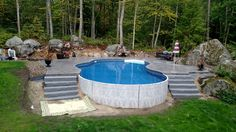 Deck Over Concrete Patio Sloped Yard Sloped Yard, Sloped Backyard, Backyard Pool Landscaping, Backyard Pool Designs, Above Ground Swimming Pools, Swimming Pools Backyard, In Ground Pools, Indoor Pools, Semi Above Ground Pool