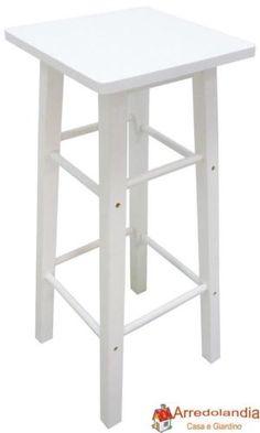 Sgabello Sedia in Legno bianco h 80 cm da Interno per bancone casa bar cucina ri