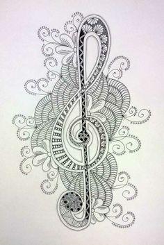 Zentangle Treble Clef | BLACK FLOWER CREATIVE