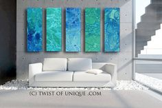 Large Abstract Wall art - Ocean, Sea, Turquoise, green, blue