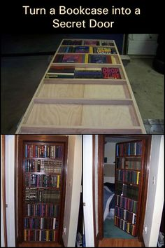 When is a Door Not a Door? When You Turn it into a Bookshelf With a Secret Space Behind it Secret Door Bookshelf, Bookcase Door, Bookshelves, Secret Space, Secret Rooms, Secret Storage, Hidden Storage, Extra Storage, Transformers