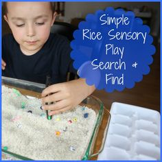 We made a search and find rice sensory bin to work on many skills including letter recognition and fine motor. This rice sensory bin also taught about being thorough with our task!