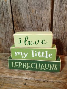 I love my little LEPRECHAUNS mini stacker wood block set home family cute funny st. patricks day decor