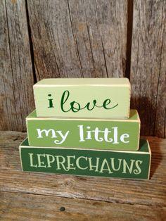 I love my little LEPRECHAUNS mini stacker wood block set home family cute funny st. patricks day decor decor crafts, st patricks day decorations, saint patricks day, wood signs, food crafts, wood blocks, mini stacker, st patricks decor, craft ideas