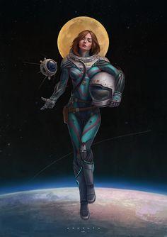 Urban Fantasy will not stop in the present Space Girl, Fantasy Women, Sci Fi Fantasy, Astronaut Wallpaper, Space Opera, Space Artwork, Cyberpunk Art, Sci Fi Characters, Science Fiction Art