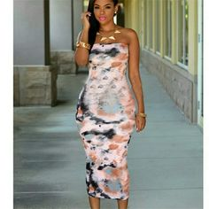 Tye Dye maxi dress Halter the dye maxi dress, form fitting Calif length dress   Visit pretty please store today ! Link in profile   FREE SHIPPING OVER AT MIDNIGHT Dresses Maxi