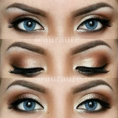 Getting the natural look with your eye makeup can seem difficult. To make it easier, apply liquid or gel eyeliner before you begin applying shadow. The eye liner should be subtle for the natural look. When applying shadow, remember to keep dark shadow closest to the lashes, medium shadows directly on top of dark and then lightest on top of that toward the brow.