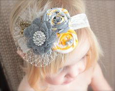 The Tiereny  Grey and Yellow Rosette Headband with by LilTutuDivas, $16.95