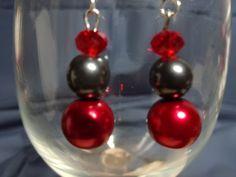 Red and black pearl earrings