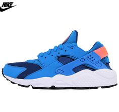 best loved b90bd 5773b Mens Nike Air Huarache Run Running Shoes Gym Blue Photo Blue Bright Mango  318429-402