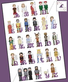 Shakespeare Themed Cross Stitch Alphabet - PDF Pattern - INSTANT DOWNLOAD by FangirlStitches on Etsy