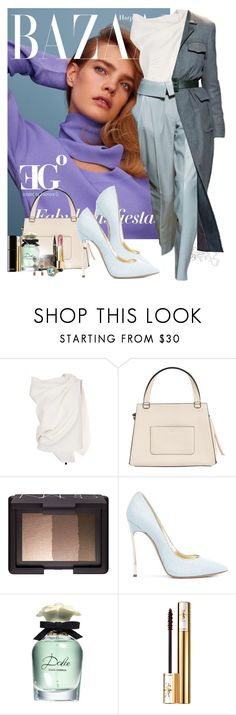 """Trussardi code"" by eleonoragocevska ❤ liked on Polyvore featuring Roland Mouret, Trussardi, CÉLINE, NARS Cosmetics, Casadei, Dolce&Gabbana, Yves Saint Laurent and Chanel"
