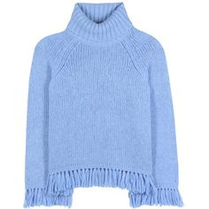 Tory Burch Jennifer Fringed Turtleneck Sweater ($330) ❤ liked on Polyvore featuring tops, sweaters, blue, shirts, blue turtleneck sweater, polo neck sweater, blue sweater, polo neck shirts and tory burch
