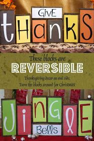 Give thanks reverse able sign with jingle bells. I would like to try merry Christmas