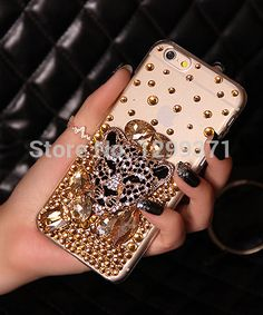 Gold Fox Leopard Bling Diamond Phone Case Cover For Iphone 7 6S Plus 5 5C 4 Samsung Galaxy Note 7 5 4 3 2 S7 S6 Edge Plus S5/4/3
