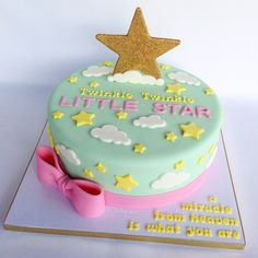 """""""Twinkle twinkle little star, a miracle from heaven is what you are"""" ⭐️ I love this theme for a baby shower! Based the design off my clients invitation. letter mold used on board from Baby Girl First Birthday, First Birthday Cakes, First Birthday Parties, Birthday Ideas, Birthday Fun, Baby Shower Cakes, Baby Shower Themes, Adoption Party, Star Cakes"""