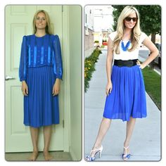 Refashioning an old pleated dress into a stylish pleated skirt. So easy! DIY