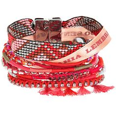 HIPANEMA Brazil Bracelet (€91) ❤ liked on Polyvore featuring jewelry, bracelets, accessories, pulseiras, red, american jewelry, ribbon jewelry, beaded jewelry, cuff jewelry and magnetic jewelry