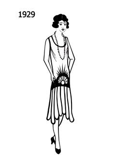 Silhouette line drawing of dress -1929