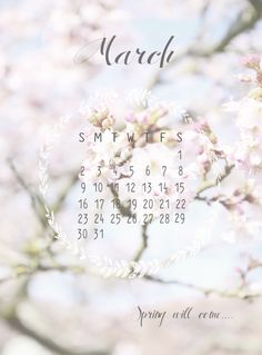 """Free Printable calender, march, kalenderblad maart 2014 Design made by Huis van """"Mijn"""""""