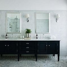 Footed Black Double Washstand with White Marble Top, Transitional, Bathroom