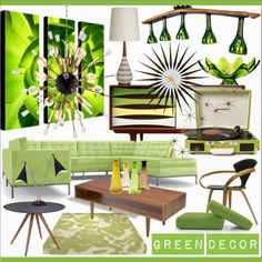 Group Contest * Green Decor by calamity-jane-always on Polyvore featuring interior, interiors, interior design, home, home decor, interior decorating, Joybird, Eastvold Furniture, Cherner Chair Company and Dot & Bo