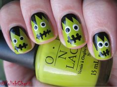 Frankenstein nails nail design inspired by the legendary classic cute halloween frankenstein nails prinsesfo Gallery